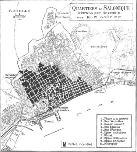 Thessaloniki fire 1917 map