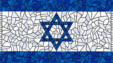 Israel flag glass