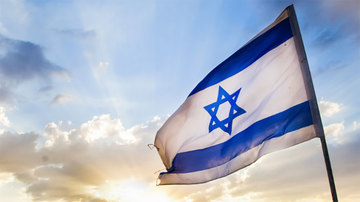 Israel flag sunset
